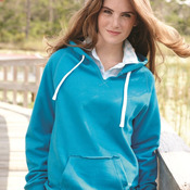 Ladies' Sueded V-Neck Hooded Sweatshirt