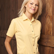 Ladies' Short Sleeve Stain Resistant Tapered Twill Shirt
