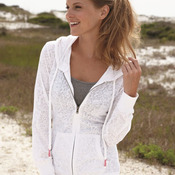 Ladies' Stefani Full-Zip Hooded Jersey Burnout